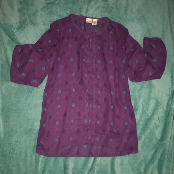 Mudd Tops - Purple sheer long sleeve shirt